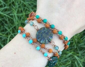 Layered crystal bracelet with carnelian, amazonite, apatite, and larimar / layered bracelet / amazonite bracelet / apatite bracelet