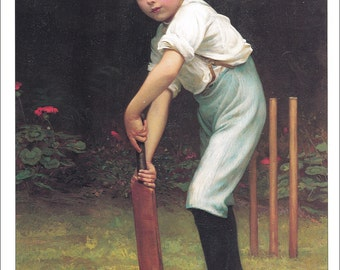 cricket print victorian boy with cricket bat vintage Pears Soap advert ad advertisement 1898 playing home decor print 8.5 x 11.5 inches