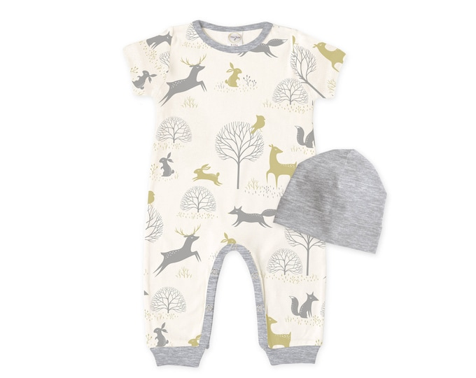 Baby Coming Home Outfit, Baby Romper Beanie, Baby Bodysuit, Short Sleeve Romper, Unisex, Woodland, Scandinavian, TesaBabe RC860WTHG0000