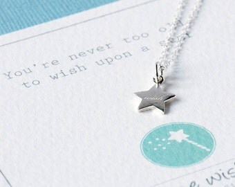 Engraved  Silver Star Necklace, Wish Silver Jewellery, Star Jewellery, Make A Wish, Personalised Jewelry, Silver Star Pendant, Wish Necklace