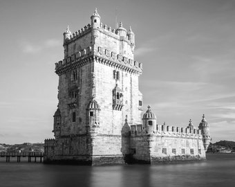 Lisbon Photography, Lisbon Print, Belem Tower, Torre de Belem, Lisbon Art, Black and White Wall Art