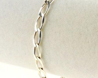"Sterling Silver Oval Cuban Link Bracelet 7 1/4"""