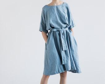 Oversized loose fitting linen summer dress with drop shoulder short sleeves