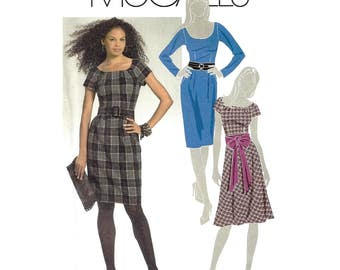 McCall's M5466 Sewing Pattern Misses Dress Belt and Sash Wide Neckline Short or Long Sleeves sz 12 thru 18 Uncut