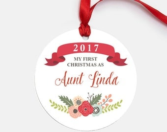 Pregnancy Announcement, Pregnancy Reveal Aunt, Ornament Gift for Aunt, First Christmas as Aunt, New Aunt, Sister Gift - (O1018 Floral Aunt)