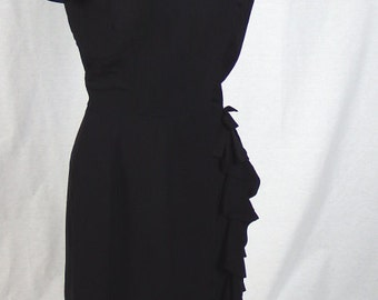 1960s Vintage Alfred Werber Jrs Little Black Dress with Side Ruffle - Small - Excellent Condition
