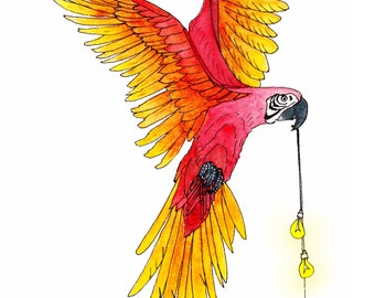 Tropical parrot and lightbulbs art print