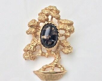 Bonzai Tree Brooch Japanese Garden Pin Confetti Lucite Brooch Costume Jewelry Amway Hallmark Gold Bonsai Black Speckled Cabochon Birthday
