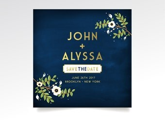 The ALYSSA . Save the Date 5.5 x 5.5 Square Card . Gold & Navy Chalkboard Cream Anemone White Magnolia Garland Olive Branch. PRINTED Cards