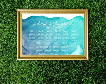 Watercolor Seating Chart Wedding Sign . Nautical Beach Island Caribbean Underwater Teal Navy Blue . PRINTS on Paper . Foam Board . Canvas