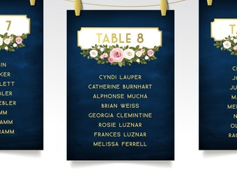 The FRANKIE . Seating Chart Cards . Gold & Navy Chalkboard White Blush Pink Rose Garland Wedding Guest Table Sign . Printed Set 5 x 7 Cards