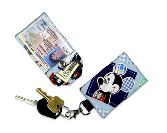 Disney Mickey Mouse Blue Plaid Mini Wallet Card Holder Keychain Clear ID Holder Accessory Bag Small Wallet Student ID Badge Credit Card Gift