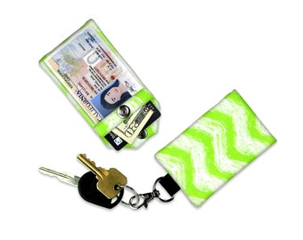 Green Chevron Mini Wallet Card Holder Keychain Clear ID Holder Small Wallet ID Wallet Minimalist Wallet Student ID Badge Credit Card Wallet