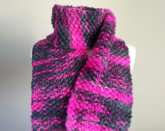 Hand knit multicolor scarf, wool knit scarf, pink gray knit scarf, warm winter scarf, gifts for her, bulky knit scarf, neon pink scarf