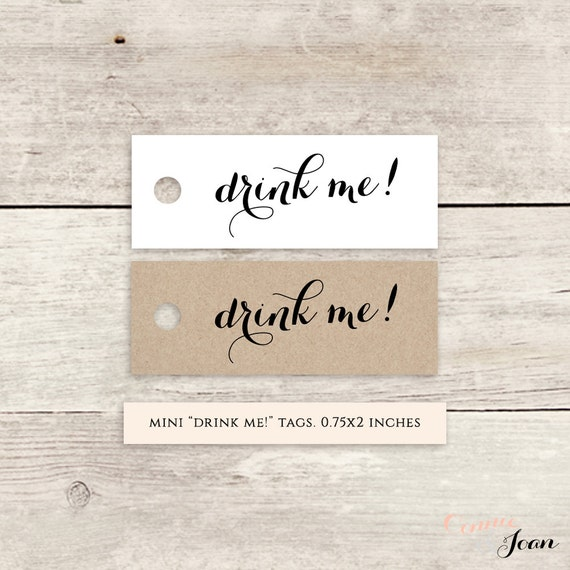 drink me! printable favor tags, printable wedding label favour tags ...