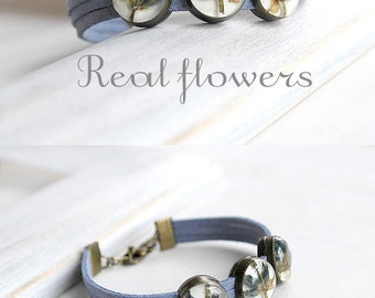 Beaded bracelet for bridesmaid gift for women Blue bracelet set Wedding bracelet for girlfriend Elegant bracelet Delicate bracelet Terrarium