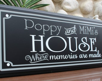 Personalized grandparent gifts-mimi nana gifts-great grandparent gifts ideas-grandma sign-from grandchildren-Poppy mimi sign house memories