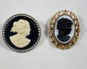 Vintage Cameo Brooch Pins LOT of TWO Cameos Goldtone Filigree Framed Silvertone Metal Framed White Black Cameo Pins