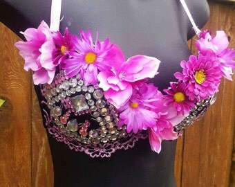 Pink Flower Bra, READY TO SHIP, Rave Bra, Floral Top, Rave Lingerie, Dance wear, Festival Bra, Festival Wear, Flower Bra - 00242
