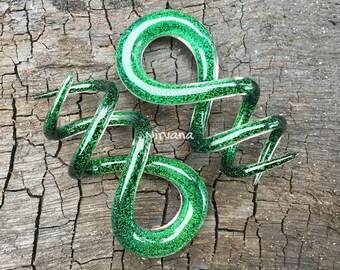 """1 Pair (2 Pieces) Emerald Green Dichroic Glass Cork Screw Spirals 10g 8g 6g 4g 2g 0g 00g 7/16"""" 1/2"""" 9/16"""" 5/8""""  3 mm, 4 mm, 5 mm  - 16 mm"""