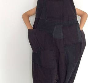 Black Patchwork Soft Harem Jumpsuit (JS-516)