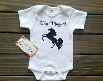 Baby girl bodysuit, unicorn baby bodysuit, unicorn girl romper, baby girl creeper, baby gift, trendy baby clothes