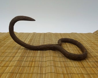 Rusty Metal Hay Hook // Vintage Iron Hook // Primitive Home Decor // Farm Hook // Hay Bale Hook // Salvage // Industrial // Agricultural
