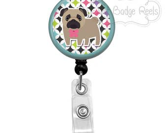 Badge Holder - Pug Badge Reel - Pug Badge Holder - Retractable Badge Reel -  Dog Badge Holder - Dog Lover Badge Reel - Nurse Badge - 1052