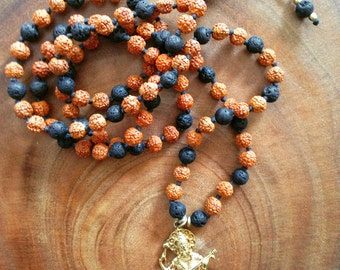 108 Beads Yoga Mala Lava Rudraksha Goddess Saraswati Pendant