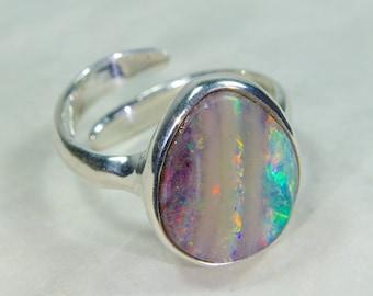 Opal ring, Australian opal ring blue, Australian opal ring turquoise, natural opal ring, 925 sterling silver ring, opal jewelry, opal silver