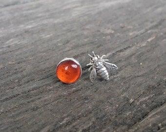 Amber Honey Bee Studs | Bumblebee Earrings | Honeybee Post Earrings | Asymmetrical Jewelry | Strength | Apiary | Beekeeper | Summer Jewelry