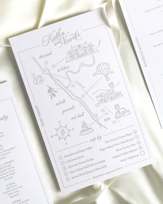 THE Modern Map Reservation | Custom Wedding Map. Hand Drawn Wedding Map. Personalized Map with Illustrations | Custom Map Invitation