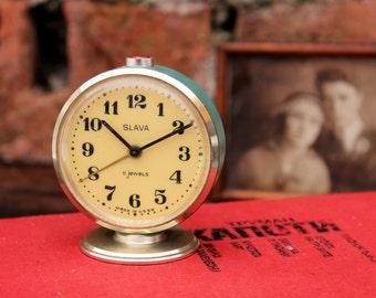 Small Clock - Retro Alarm Clock - Vintage Desk Clock - Blue Soviet Mechanical Clock Slava - Bedroom Clock - Table Clock - Russian Clock