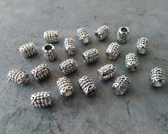 20 Silver spacer beads Tube spacer beads 6mm spacers Bracelet beads Short tube beads Mens jewelry beads DIY Jewelry supplies Loose spacers