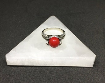Sterling Silver .925 Ring With Genuine Marcasite and Red Shell Pearl