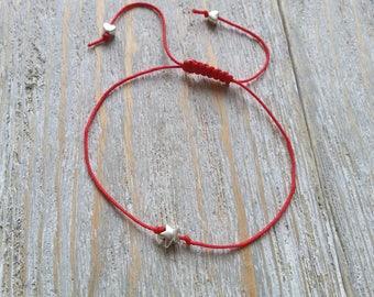 Star charm bracelet, Red nylon string bracelet, Friendship bracelet, Wish bracelet, Minimalist bracelet, Charm bracelet