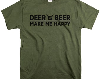 Hunting Gifts for Men - Deer and Beer Shirt - Gifts for Husband Dad or Son - Makes Me Happy Tshirt