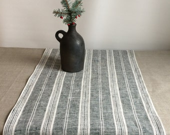 Linen Table Runner, Black and White Table runner, Dark White Striped Table Runner, Rustic Table Runner, Eco
