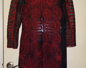 Unique Vintage 1960's Black & Dark Red Psychedelic Filigree Spirals Embroidered Sheer Mesh Maxi Ethnic Art Deco Pattern Dress SM-M