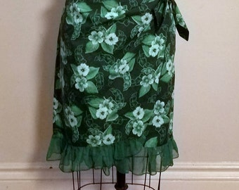 Green Tiki Faux Wrap Skirt
