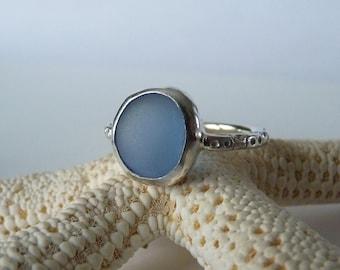 Cornflower Blue Sea Glass Ring - Genine English Sea Glass - Sterling Silver - MORNING GLORY - Size 8-1/4