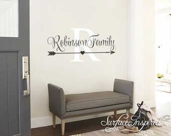 Wall Decals Quote - Personalized Family Name Wall Decal Name Monogram - Vinyl Wall Decal Family Wall Decal Wedding Gift