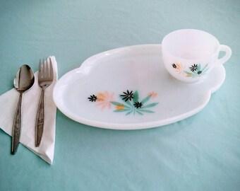 Federal Milk Glass - Atomic Flowers - Japanese Maple/Marijuana Leaf Design - Dish/Cup Set - Serving for 2