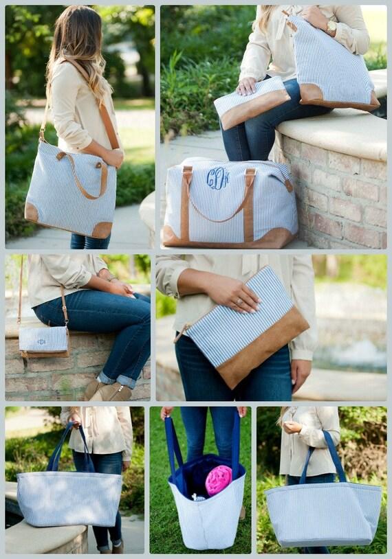 Monogrammed Seersucker Travel Bag Collection