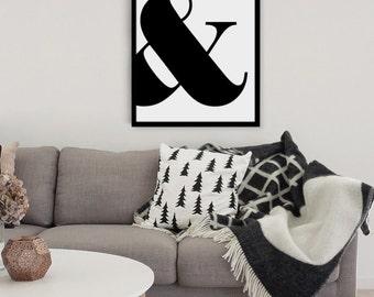 Black and White Ampersand Print - Home Decor - Wall Art - Scandi Style Art - Minimal Art