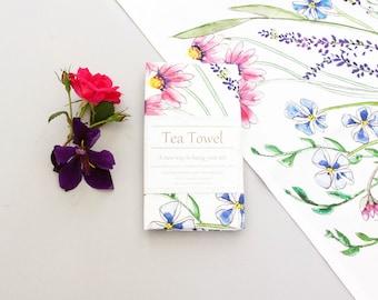 wildflower kitchen tea towel, watercolor art print, home decor, Mother's day, housewarming gift, teacher gift, gift for her, Kitchen decor