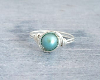 Turquoise Pearl Ring, Silver Ring, Stacking Ring, Pearl Ring, Turquoise Pearl Jewelry, Turquoise Ring, Mint Green Ring, Pastel Ring