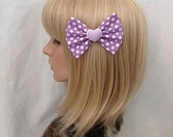 Purple white polka dot heart hair bow clip rockabilly psychobilly kawaii cute pin up girl sweet geek macaron pastel ladies women's kitsch