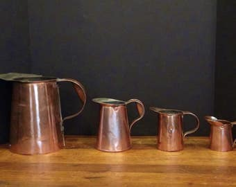 4 Vintage Copper Pitchers - French Decor - Tin Lined - Primitive - Rustic Decor