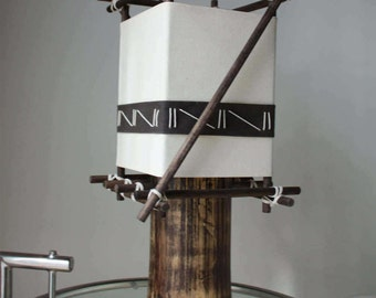 Bamboo lamp, Handmade lamp, tribal lamps, bamboo lighting, Wood side table lamps